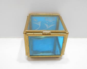 Small Vintage Mirrored, Hinged Brass & Glass Trinket Box (10) Gorgeous!