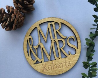 Two Personalised Mr & Mrs Coasters, Wedding and Anniversary Gift,Birch Plywood laser cut mug mats, with Oak stain finish.