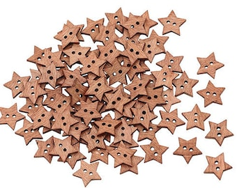 Set of 10 wooden star buttons