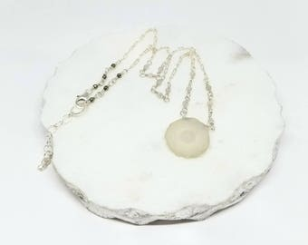 Solar Quartz Pendant on Sterling Silver Chain with Moonstone and Pyrite