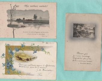 9 cards postcards old/landscapes/gentian/butterflies/old postcard