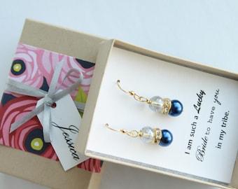 Navy Blue Bridemaid Earrings, Blue Bridesmaid Jewelry, Blue Bridesmaid Gift, Navy Earrings, Blue Earrings, Navy Blue Pearl Earrings