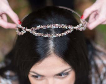 Crystal crown Headpiece, Swarovski crystal crown, boho crown bridal headpieces, Hair jewelry accessories, boho crystal crown, crystal crown