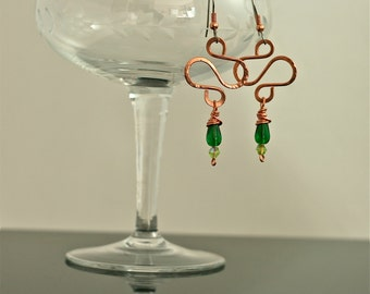 Curves in Copper with Emerald Green Teardrop Earrings