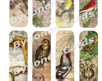 Nature themed digital bookmarks. Vintage style book marks. Printable book marks. Altered art bookmarks.