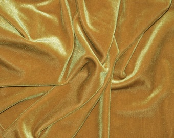 Spandex Stretch Velvet Dark Gold 2 Way Dance Wear Home Decor Fabric By The Yard
