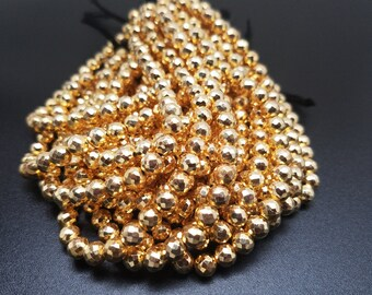 6mm Gold Pyrite Coated Faceted Balls, 8 inch