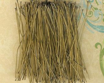 "1 1/2 inch Head Pins, Antique Brass, Brass Head Pins, 144 piece pack Head Pins, Antique Headpins, 1.5"" Headpin, Antique Brass Earrings"