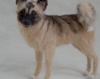 Needle Felted Akita Dog, Wool Pet Portrait