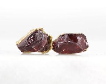 raw garnet earrings   january birthstone studs   january birthstone earrings   rough garnet studs   raw crystal studs   garnet stud earrings