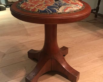 Reupholstered Art Deco Cherry Wood Piano Stool