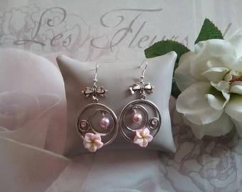 Tiare flower and Pearl hoop earrings