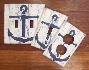 Nautical anchor rustic light switch plate cover // blue off white // SAME DAY SHIPPING !!  **