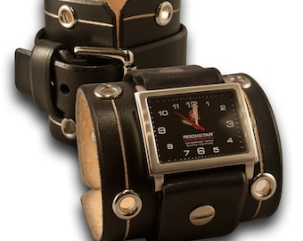 Black Leather Cuff Watch with Eyelets - Stainless 42mm, Sapphire