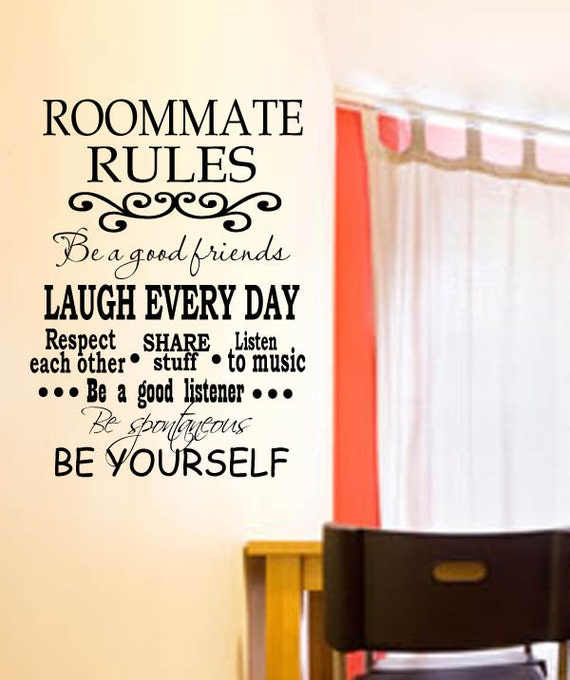 College Dorm Roommate Rules Vinyl Wall Decal with decorative