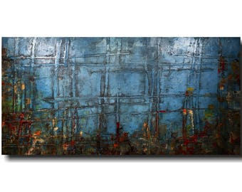 Large abstract painting, original acrylic wall art, industrial decor, home decor, 48 inch painting,  JMJArtstudio, blue, mothers day gift