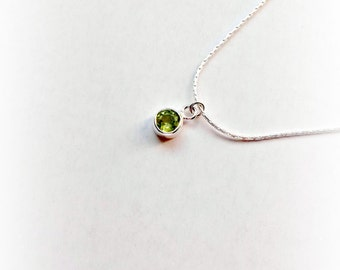 Sterling Silver Peridot Necklace, Peridot, August Birthstone, August Birthdstone, August Birthday, Peridot Pendant, Gifts for her,