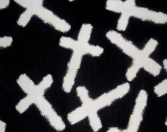 Black White Cross Quality Jersey Knit Stretch Fabric BTY Gothic