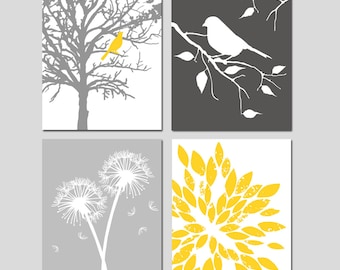 Yellow Grey Nursery Art Quad - Bird in a Tree, Bird on a Branch, Dandelions, Abstract Floral - Set of Four 8x10 Prints - CHOOSE YOUR COLORS