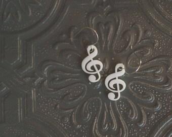 Treble Clef Musical Earrings in white