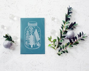 "Hand screen printed ""joy in a jar"" Christmas postcard (blue+white)."