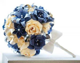 Paper Flowers Bridal Wedding Bouquet Origami Tardis Blue Cream Navy Theme