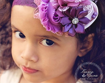 Vintage Purple Couture Headband, Infant Headband, Toddler Headband, Newborn Headband, Photo Prop