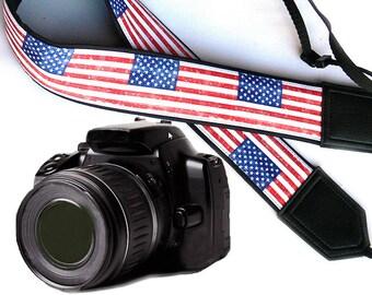 US flag camera strap. American flag camera strap. DSLR / SLR Camera Strap. Camera accessories.