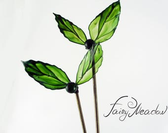 Example! Big Emerald Leaves Hair Stick (set of 2) Green Stained Glass Resin Wire Pin Transparent Japanese Kanzashi Sakae Harz Clip