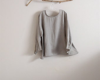 custom light weight linen blouse with pin tuck sleeve / summer linen blouse / boho linen blouse / casual linen blouse / plus size to petite