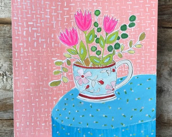 Original Watercolor Gouache Painting of Tulips in a Teacup