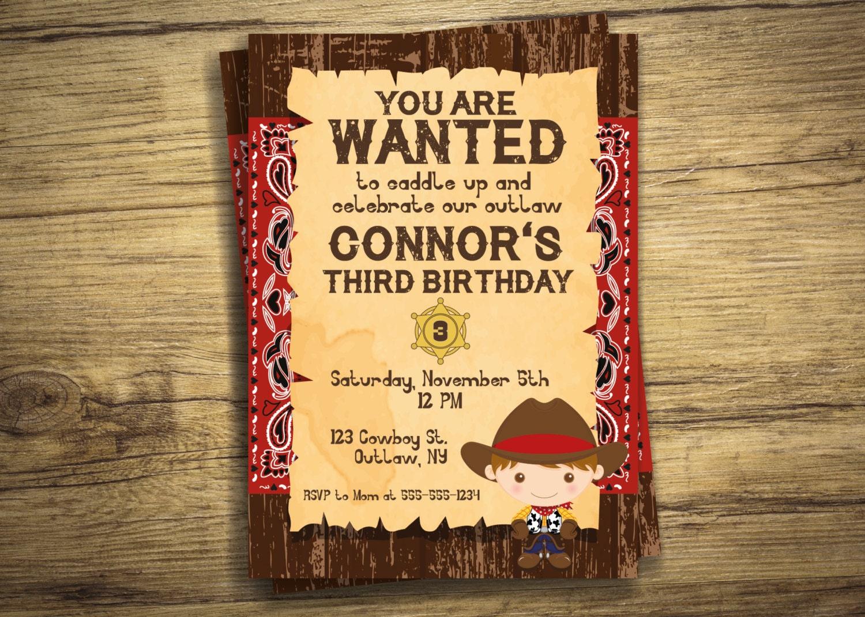 Cowboy Birthday Party Invitation Sheriff Western Outlaw