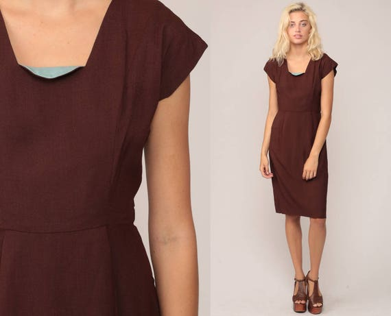 1960s Dress Wiggle LINEN Sheath Cocktail 60s Mad Men Midi Hourglass Brown 50s Pencil Vintage High Waist Cap Sleeve Petite Extra Small xs