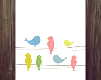 INSTANT DOWNLOAD Birds on a Wire Nursery Children's Art Print 8x10