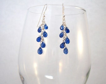 kyanite gemstone and argentium and sterling silver dangle earrings - Made to order