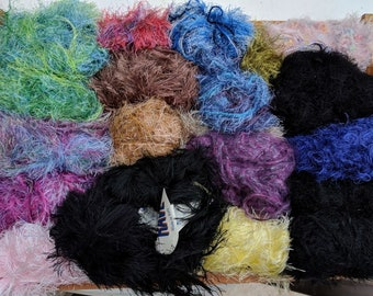 Fun Fur and Eyelash Novelty Knitting Yarns, An Array of Full and Partial Balls Offered at a price per ounce, You Choose Color