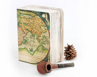 Decoupage Wooden Box Jewelry box Keepsake box Decoupage Memory box Book Treasury Wooden  Box Vintage World map Wooden Box Treasury Chest