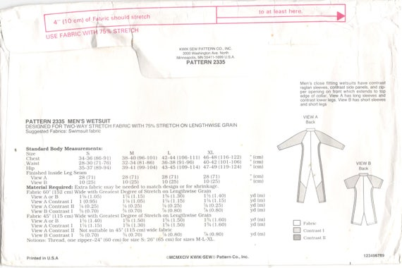 Kwik Sew 2335 Mens Zip Front Wetsuit Pattern Raglan Sleeves
