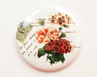 Flower mirror, Flower pocket mirror, pocket mirror, Geranium, Flower, Floral, mirror, purse mirror, gift for her, Bridesmaid gift (3677)