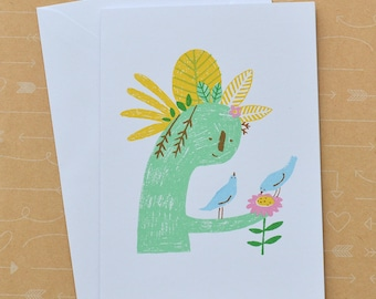 Plant Lady and Birds, Plant Lover Nature Screenprinted Card