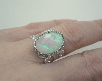 Vintage Opal Ring Faceted Opal Ring Silver Adjustable Ring Opal Jewelry October Birthstone