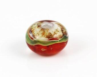Lampwork Glass Beads - Red Green Single - Lampwork Beads - 13 x 9mm