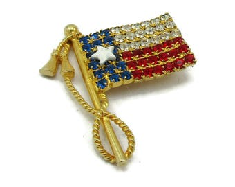 Red White Blue Flag American Flag Rhinestone Flag Brooch Gold Tone Fourth of Jewelry Vintage Costume Jewelry 1970s Small Simple Designer