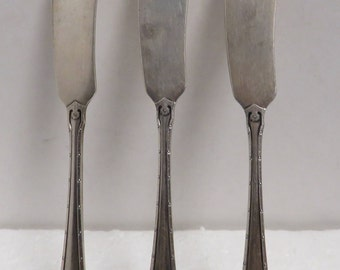 3 Vintage Sterling Silver, Carmel Pattern Butter Knives / 3.
