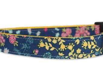 Flower Dog Collar - Nora Dog Collar - Navy Dog Collar - Floral Dog Collar - spring dog collar - girl dog collar - yellow flower dog collar