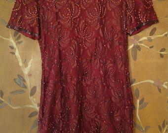 80s burgundy beaded lace dress