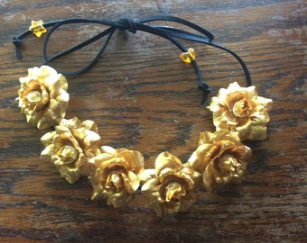 Gold Flower Crown Headband