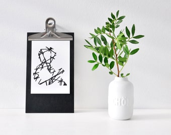"""Postcard, """"&"""" sign, black and white illustration, alphabet, sign, drawing, gift, deco, decoration, card, greeting card, paper"""