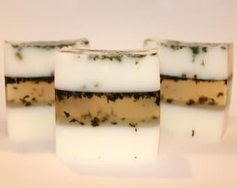 Nettle Leaf Soap, Exfoliating Soap, Patchouli soap, herb soap, Gift idea, no color soap, Goats milk soap, Bar saop, exfoliating, 5oz soap