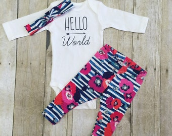 Newborn coming home outfit, hello world outfit, baby shower gift